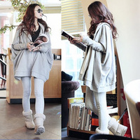 Free Shipping Autumn & Winter Women's Plus size With Hood Casual Design Long batwing Sleeve Loose Cloak Outerwear Sweatshirt