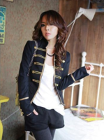 Plus size clothing spring vintage fashion military mm short jacket suit