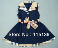 Free Shipping Retail Kids / Girls Brand Dresses Children Princess Dress New Summer 100%cotton Infant/Baby plaid Dress