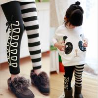 New 2014 girl clothing set, fashion girls T shirt+striped leggings 2pc set, cotton, brand Wu Children Clothing Free Shipping