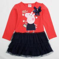 2014 New Fashion Baby & Kids Summer Baby Girl Peppa Pig Dress Kids Wear Pepe Embroidery Princess Lace Dress Nova Girls H4549