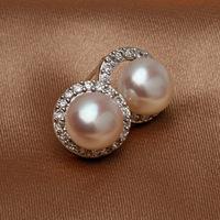 2014 New Brand Natural 100% Freshwater Pearl Genuine Sterling Silver Zircon Women Noble Handwork Jewelry Stud Earrings#PE013