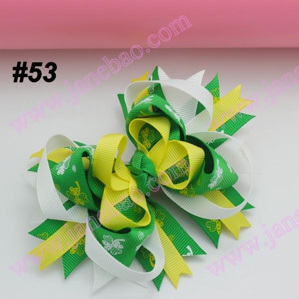 free shipping 80pcs 2014 fashion St. Patrick's Day hair bows Festival girl baby holiday boutique hair bows girl hair clips(China (Mainland))