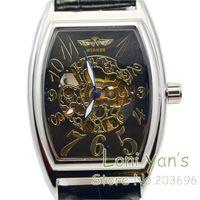 2014 Winner Skeleton Mechanical Watch Tonneau Men Women Stainless Steel Wristwatch Free Ship