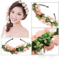 Hair accessories Pink/White Flower Boho Floral Garland Festival Wedding Bridal Hairband 06LC