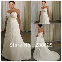 Free shipping Hot Sale Elegant Long White Chiffon With Beads A-line Sweetheart Court Train Plus Size Wedding Dress BP14022