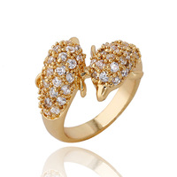 Womens Fashion Elegant Size 7 8 Popular Adorable Double Dolphin Pattern Jewelry Zircon Decoration Gold Plated Ring R1-J0515