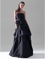 Free Shipping Black Taffeta Pin Up Simple Vintage Floor Length Homecoming Graduation Dresses Simple Party Prom Dresses 2014 New