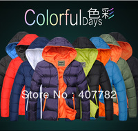 2014 casual design candy color lovers wadded jacket down contton padded jackets men and women