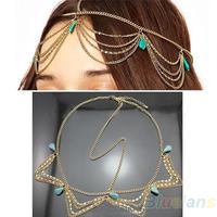 Hair Accessories Charm Gothic Bohemian Boho Hair Crown Cuff Headband Headwrap Headdress Chain 06N1