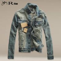2014 Real New Arrival Zipper Fashion Cotton Leisure Youth Spring Autumn Men Denim Lapel Zip Jacket Slim Jeans Coat Male Overcoat