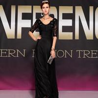 2014 black lace evening dress V-neck evening dress double-shoulder dress fashion formal dress long design