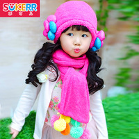 Female child thermal plus velvet ear protector cap child hat scarf twinset baby hat