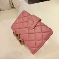 Fashion plaid 2013 small sheepskin wallet free shipping women's short design wallet genuine leather hasp wallet