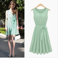 Exclusive! S-XL women's new European and American big temperament Slim chiffon pleated dress genuine factory direct