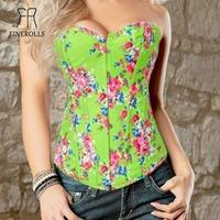 FINEROLLS Green Denim Overbust Corset floral print Meatal Buckle boned Busiter Top + Thong  women  chest cincher free shipping