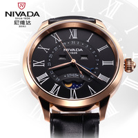 new 2014 hot gift swiss Nivada men brand Wristwatchs male Genuine leather strap waterproof casual quartz watches with calendar