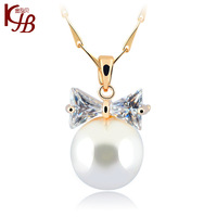 New Design  Accessories Necklace Chain Anti allergic Bow Natural Pearls T001