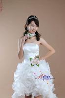 vestido de noiva 2014     fashionable sexy flowers ruffles short front long back lo-hi    mermaid   wedding dress dresses