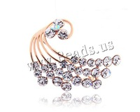 Free shipping!!!Rhinestone Brooch,ladies, Zinc Alloy, gold color plated, with rhinestone, nickel, lead & cadmium free, 45x38mm