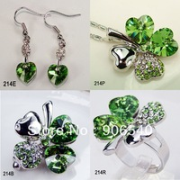 "Wholesale Free Shipping 4 Colors Fashion Rhodium Plate Christmas Gift CZ Stone ""Flower"" Jewelry Set Women Jewelry Sets"