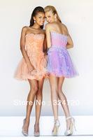 Fashionable flower beaded tulle short peach new 2014 prom dress 11062