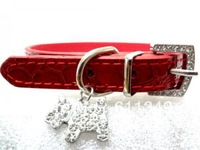 Free Shipping Pet Products Puppy Dog Cute Collars PU Leather with Rhinestone Charm Red Small