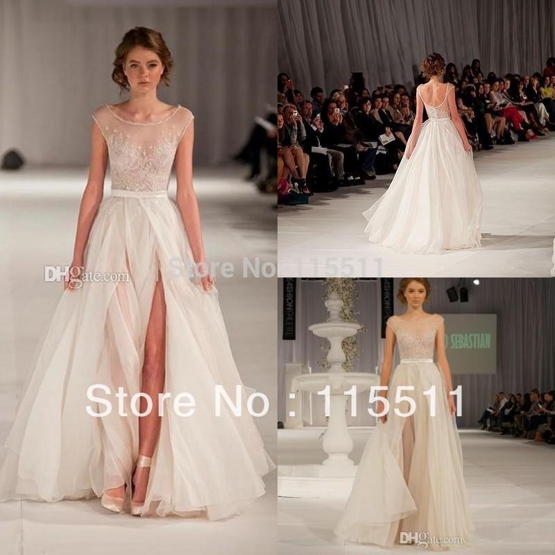 Custom made on sale sexy scoop floor length beaded side slit cap sleeve see through tulle formal sheer elie saab evening dresses(China (Mainland))