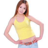 free shipping All-match vest basic shirt yellow cotton spaghetti strap shirt woman tank