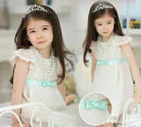 Free shipping 5pc/lot Summer Fashion Baby Girls Lace Princess Dress / Dreses For Children Kids wear / Garment White, Pink