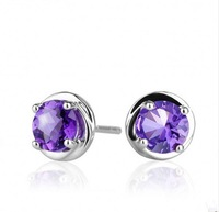 Jewelry 925 Sterling Silver Round Purple Amethyst Crystal Stone Studs Earrings