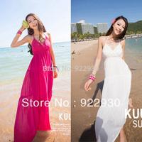 Fashion women summer Halter top long Bohemia style Beach dress Floor-length Lady Slim costume club dress Backless clothes