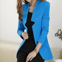 2014 New spring casual women blazers and jackets mediun-long candy color slim suits for women outwear fashion tops plus size