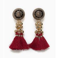 2013 accessories vintage tassel long earrings red white black green