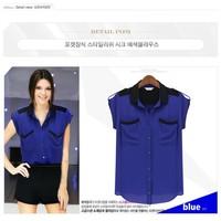 Free shipping New 2014 t-shirt women fashion patchwork  pocket epaulette chiffon sleeveless turn-down collar shirt blouse