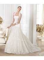 2014 Halter A-line Strapless Lace Motif Sweep Train Wedding Dresses Bridal Gowns Customize Any Size & Color D03021