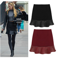 2014 Autumn - Winter European and American Style Women Zipper Pleated Bust Skirts Stitching leather skirt Women's skirts S M L