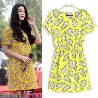 Women's summer fashion 2013 cashers print elastic waist short-sleeve dress   Free shipping