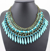 2014 New Fashion Vintage Europe Style Handmade Weave Jewelry MultilevelTassel Drop Collar Choker Necklace