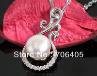 Natural Pearl Jewelry Freshwater Pearl Pendant 100% Genuine Solid 925 Sterling Silver With Cubic Zirconia 44171