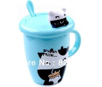 wholesale different color animals Lid cartoon cup coffee cup mugs plastic covered with a spoon FREE SHIPPING