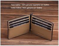 2014 Luxury Men Money Clip Genuine Vegetable Cow Leather Slim Men Wallets Clamp For Money Coffee Wallet Clip MT-MC-13025-F