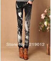 Wholesale new arrial 2013 new Korean female significantly thin denim jeans painted personalized denim trousers feet