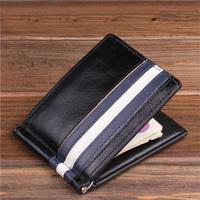100% Genuine Vegetable Men Money Clip Cow Leather Black Men Wallets With Card Holes Gift For Men Box Package  MT-MC-13025-H