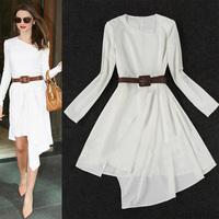 Fashion new 2014 ladies'  irregular long-sleeve dress spring white basic dress plus size