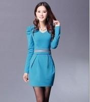 2013 basic skirt new arrival plus size women long-sleeve dress spring slim one-piece dress belt female
