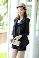 2013 autumn trench casual slim double breasted medium-long women's trench outerwear female