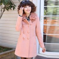 Ayilian autumn and winter sweet loose plus size women's woolen overcoat outerwear fur collar