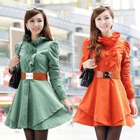 2013 autumn and winter woolen outerwear stand collar long wool coat wool design