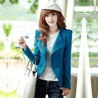 2013 autumn AYILIAN slim double breasted short design woolen outerwear female blazer